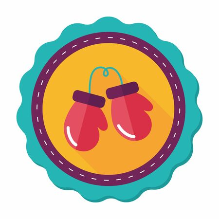 combative: boxing gloves flat icon with long shadow,eps10