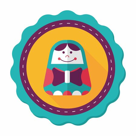 modern doll: Russian Doll flat icon with long shadow,eps 10