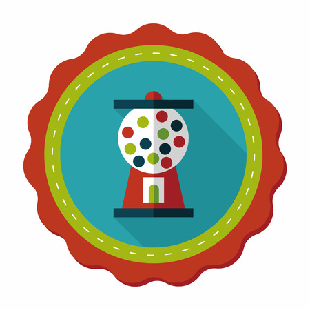 chewing gum: Gum ball Machine flat icon with long shadow,eps10