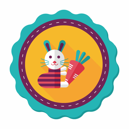 cony: Rabbit with carrot flat icon with long shadow,eps 10 Illustration