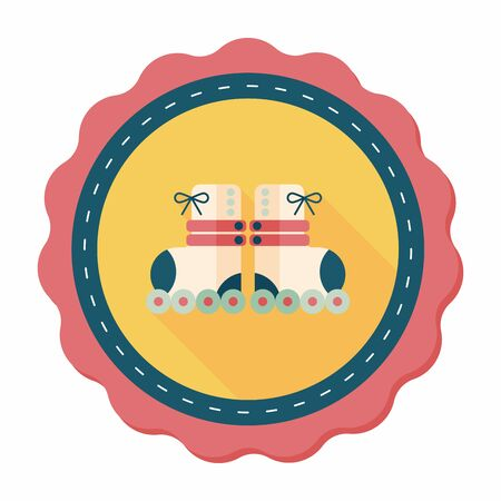 rollerskate: Roller skates flat icon with long shadow,eps10