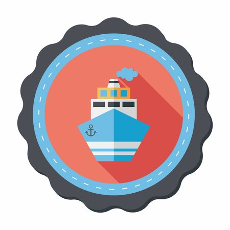 cruising: Transportation ship flat icon with long shadow,eps10