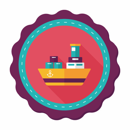 shipbuilder: Transportation Container ship flat icon with long shadow,eps10 Illustration