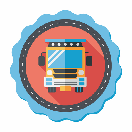 schoolbus: Transportation school bus flat icon with long shadow,eps10 Illustration