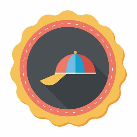 peak hat: Peaked cap flat icon with long shadow