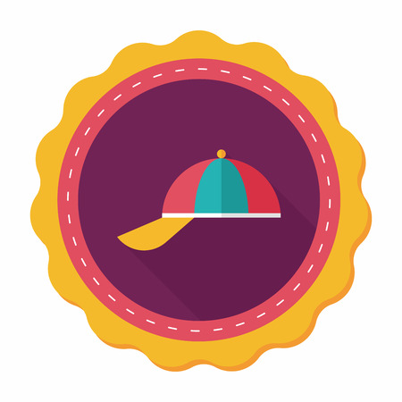 peaked cap: Peaked cap flat icon with long shadow,eps10 Illustration