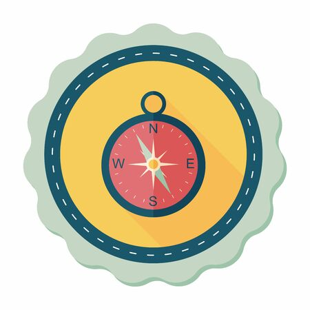 longitude: compass flat icon with long shadow,eps10