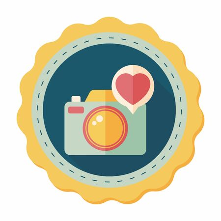 Valentines Day photo camera flat icon with long shadow,eps10 Vector