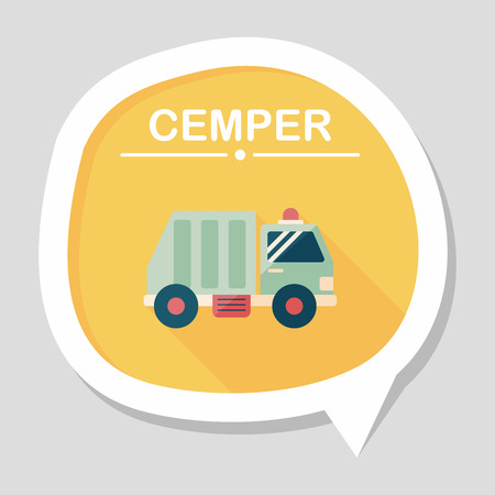dispose: Transportation Garbage truck flat icon with long shadow,eps10