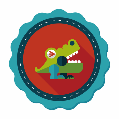 crocodile toy flat icon with long shadow