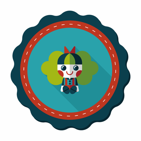 tot: girl doll toy flat icon with long shadow