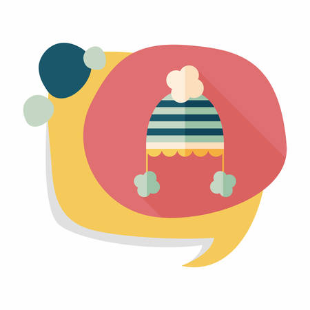 pink cap: baby hat flat icon with long shadow Illustration