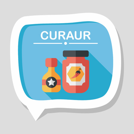chilly: kitchenware hot sauce flat icon with long shadow Illustration