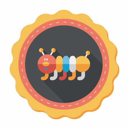 cartoony: Caterpillar flat icon with long shadow Illustration