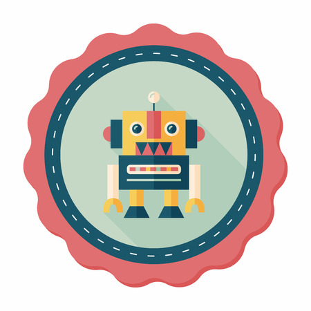 space program: vintage robot flat icon with long shadow Illustration