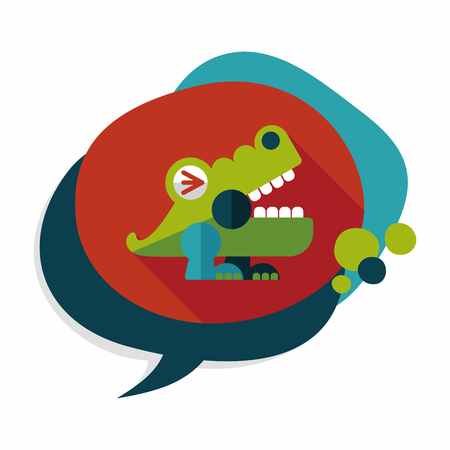 destructive: crocodile toy flat icon with long shadow