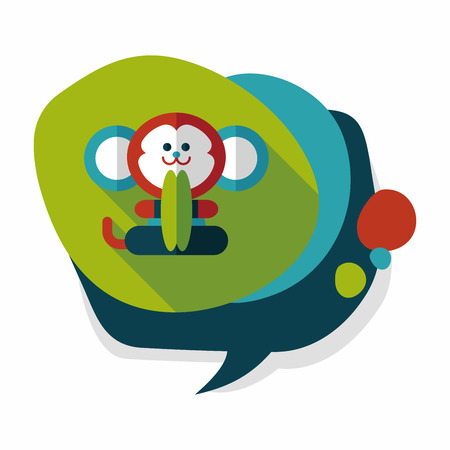 cymbals: monkey toy flat icon with long shadow Illustration