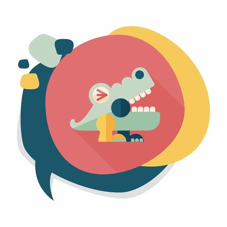 caiman: crocodile toy flat icon with long shadow