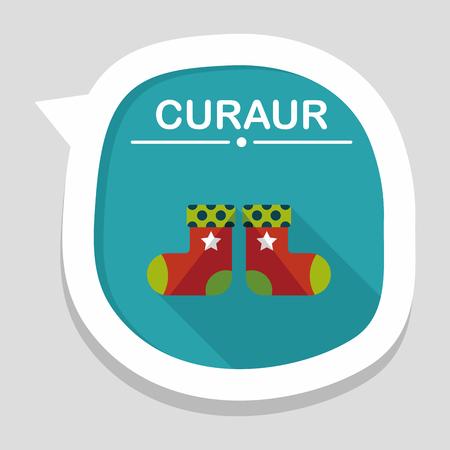 christmas stocking: Christmas stocking flat icon with long shadow