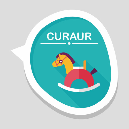 horse toy flat icon with long shadow Vector