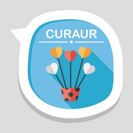 hart bloem: hart bloem flat icoon met lange schaduw