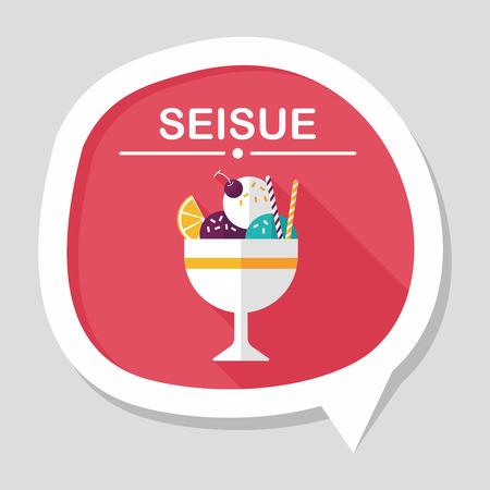 fudge: ice cream flat icon with long shadow,eps10