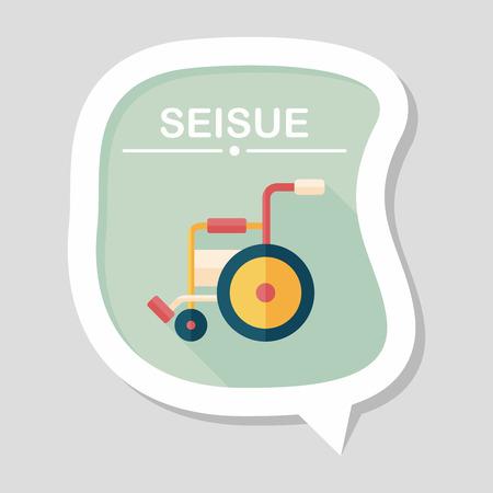 silla de rueda: Icono plana con silla de ruedas con una larga sombra, eps10 Vectores