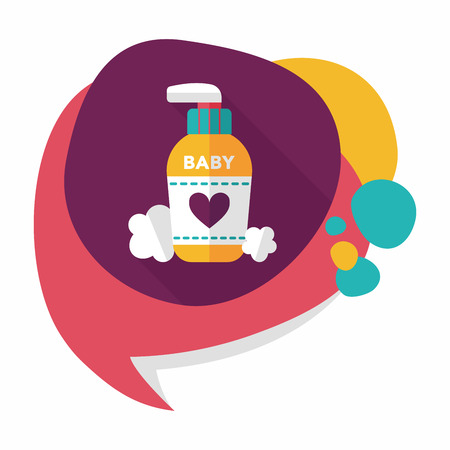 pampering: baby cosmetics flat icon with long shadow Illustration
