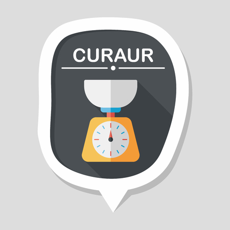 counterweight: kitchenware weight scale flat icon with long shadow