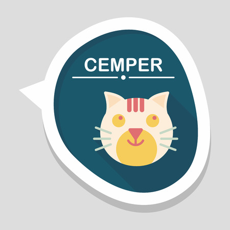 animal themes: Pet cat flat icon with long shadow,eps10