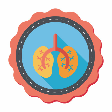bronchial: Lungs flat icon with long shadow Illustration