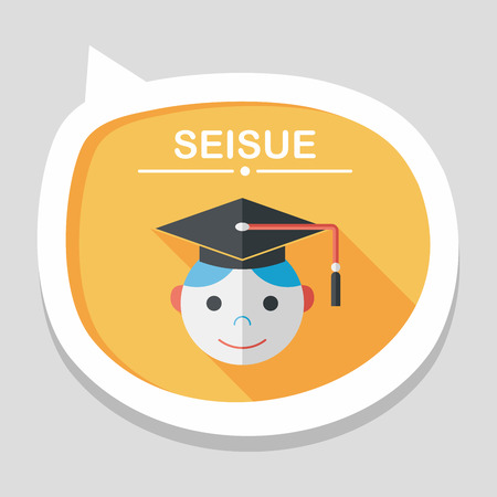 master degree: Graduation Man flat icon with long shadow,eps10