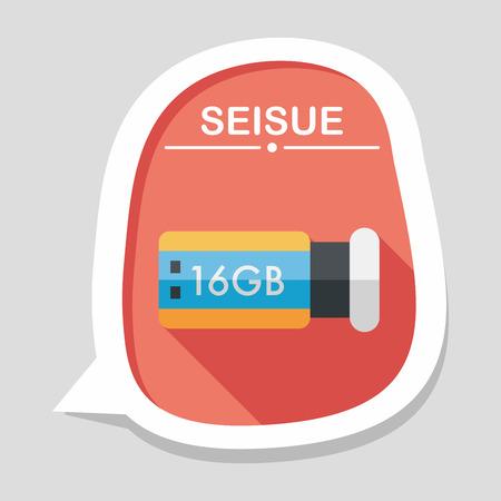 flash memory: Usb flash memory flat icon with long shadow,eps10 Illustration