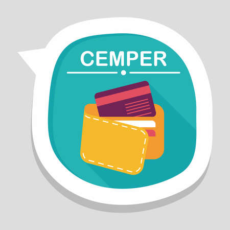 personal accessory: shopping wallet flat icon with long shadow