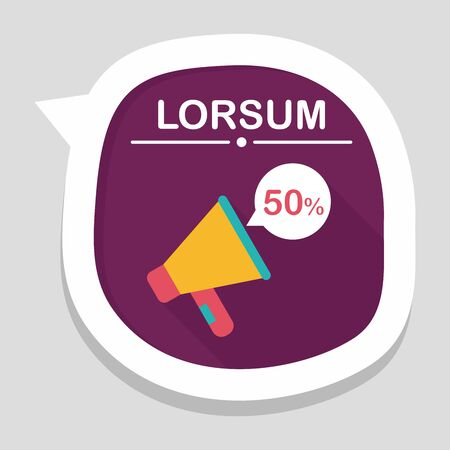 using voice: shopping sale announcement flat icon with long shadow