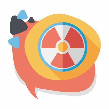 riesgo quimico: Icono plana radiaci�n con una larga sombra