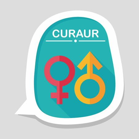 gender symbol: Simbolo di genere icona piatto con una lunga ombra
