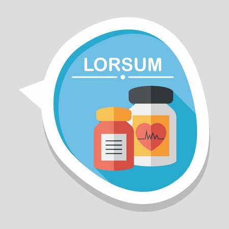 physical pressure: supplements drug flat icon with long shadow