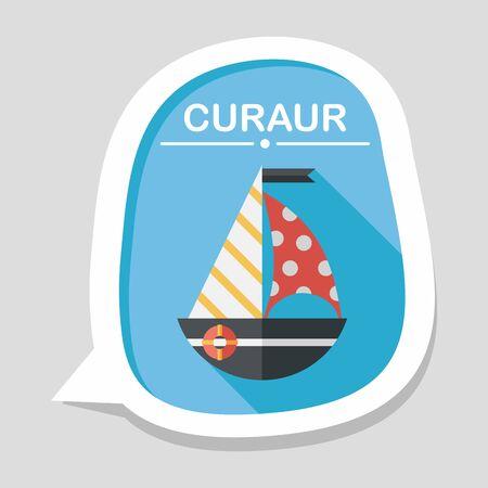 sailboat: Sailboat flat icon with long shadow
