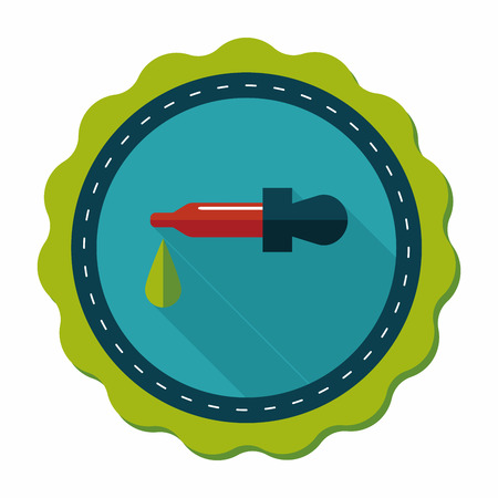 phial: dropper flat icon with long shadow Illustration
