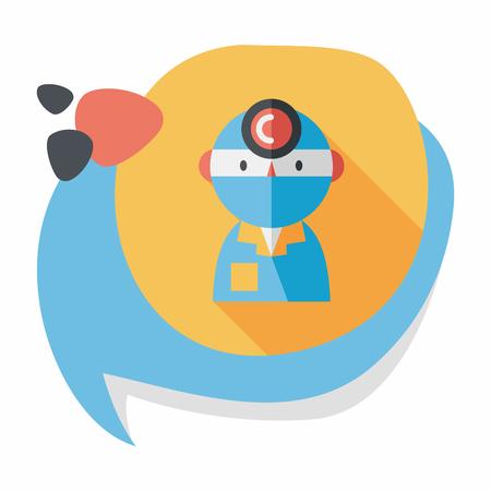 enfermera quirurgica: m�dico con estetoscopio icono plana con larga sombra