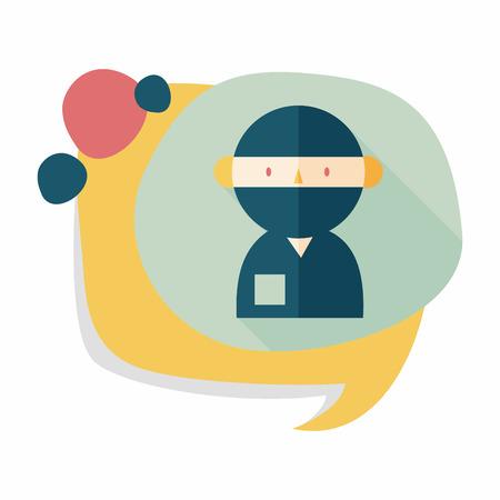 surgeon mask: m�dico con estetoscopio icono plana con larga sombra