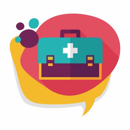 first aid kit: primer icono plana botiqu�n con larga sombra Vectores