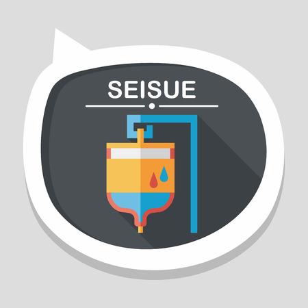 iv drip: IV bag flat icon with long shadow Illustration