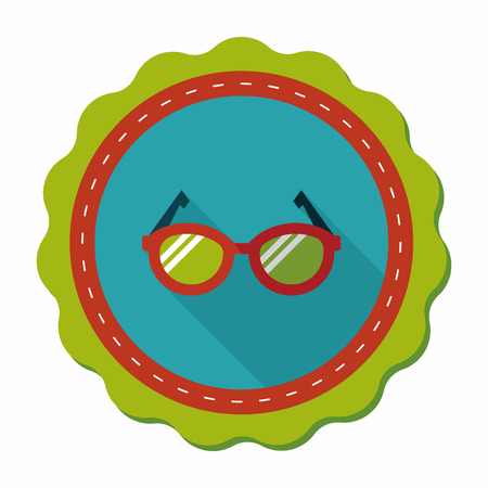 corrective lenses: Glasses flat icon with long shadow,eps10