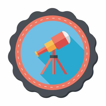 planetarium: Telescope flat icon with long shadow,eps10