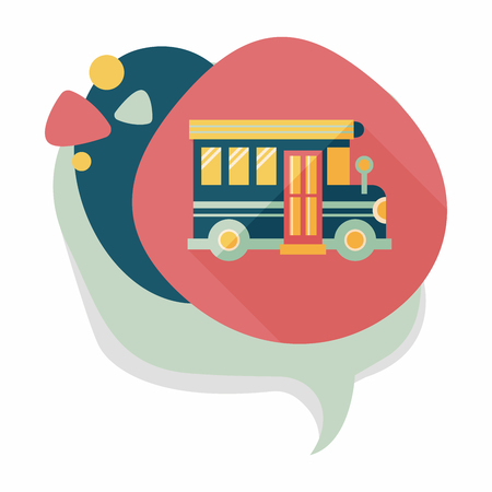 cartoon safety: School Bus flat icon with long shadow,eps10