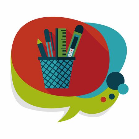 Pen Holder flat icon with long shadow,eps10 Vector