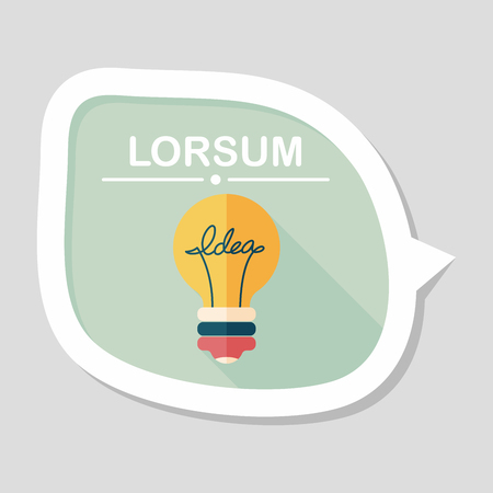Light bulb flat icon with long shadow,eps10 Illustration