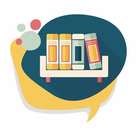 bibliography: bookshelf flat icon with long shadow,eps10